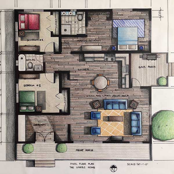 Floor Plan Renderings Alldraft Home Design And Drafting Services